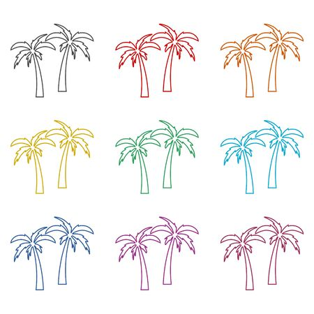 Palm Tree Silhouette icon, color icons set Иллюстрация