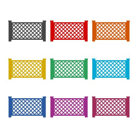 Fence icon, Fence icon Vector, Fence icon Art, color icons set