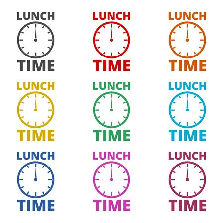 Time For Lunch, Flat Lunch Time icon, color icons set
