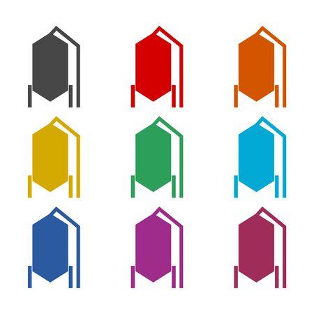 Silos storage icon, color icons set