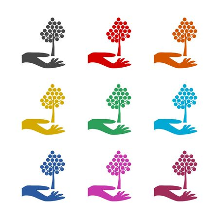 Hand with a tree symbol, Tree in hand icon, color icons set