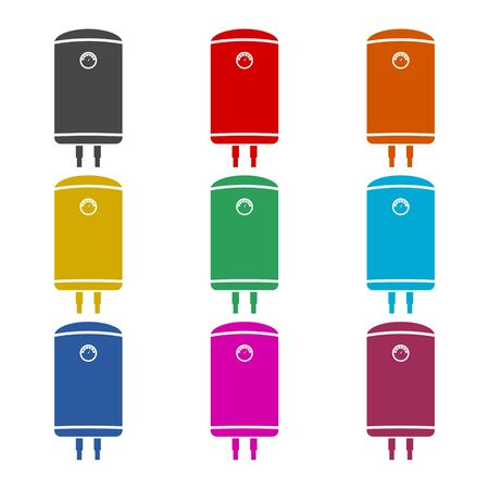 Electric boiler icon, color icons set