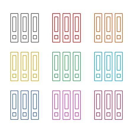 Binders icon, Archive folders vector icon, color icons set