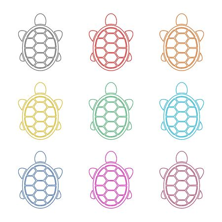 Turtle icon Flat Graphic Design, color icons set