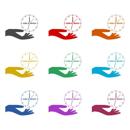 Time is money, Business concept icon, color icons set