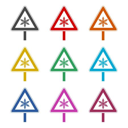 Traffic sign, Warning sign, Ice icon, color icons set Illustration