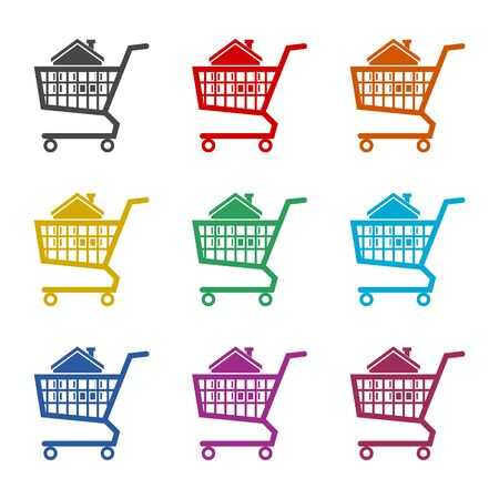 House in shopping cart icon, color icons set
