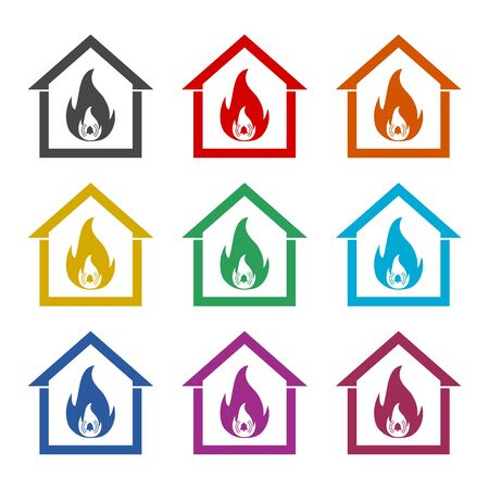 Fire warning icon, color icons set