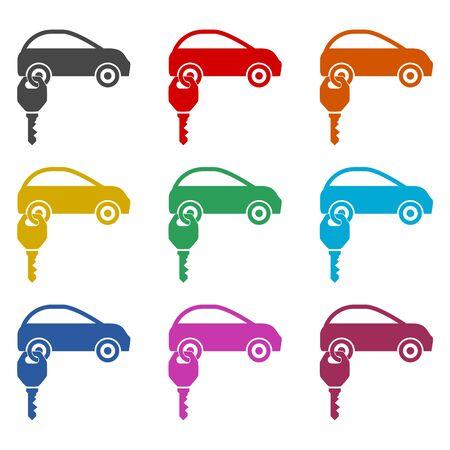Rent a Car Transportation design icon, color icons set