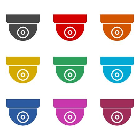Security camera icon, color icons set Stock Vector - 129901608