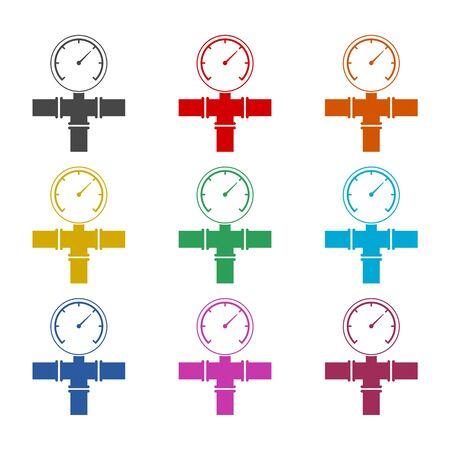 Manometer (pressure gauge) and vacuum gauge icon, color icons set Ilustração