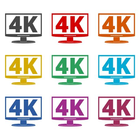 4K tv icon, Ultra HD 4K icon, color icons set Çizim