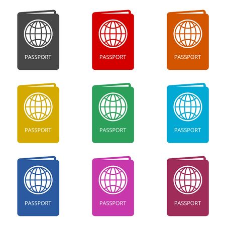 Passport simple icon, color icons set Stok Fotoğraf - 129901610