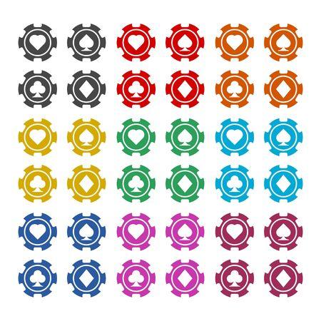 Casino chip icon, Poker icon, color icons set Фото со стока - 129901611