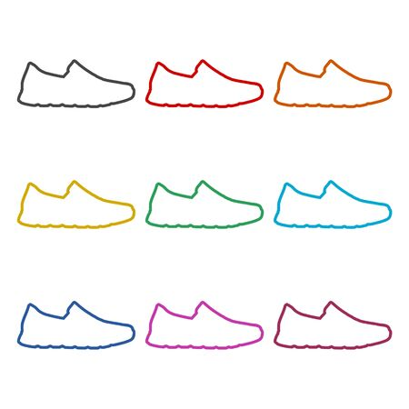 Sport shoe icon, color icons set