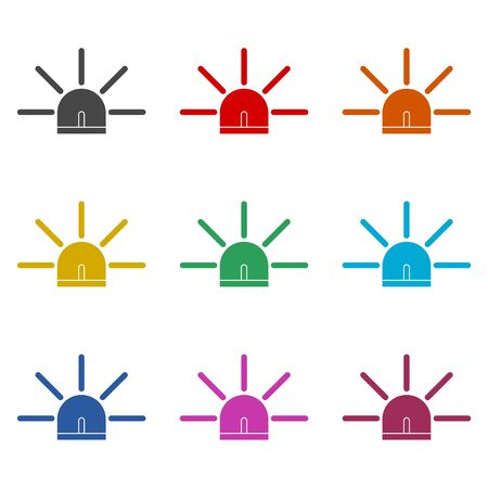 Siren icon for web and mobile, Alarm siren vector icon, color icons set