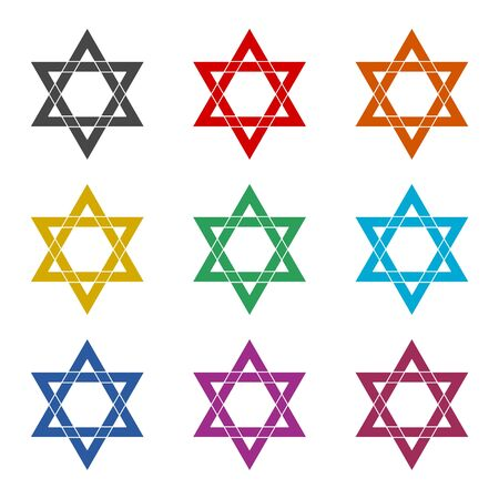 Star of David icon, color icons set