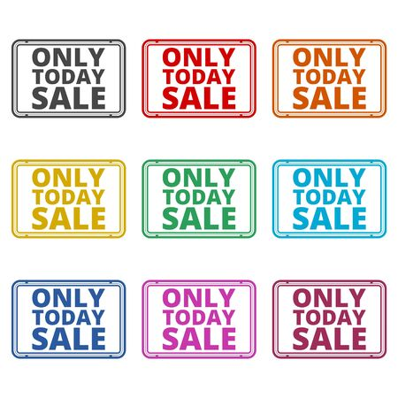 Only Today Sale sign icon, color icons set