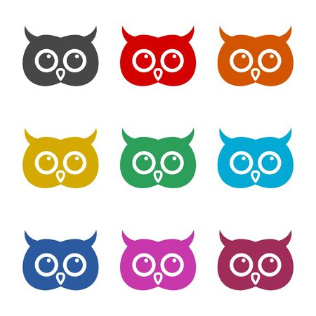Owl icon, Owl illustration, color icons set