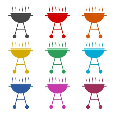 BBQ, Grill Or Barbecue icon, color icons set  イラスト・ベクター素材