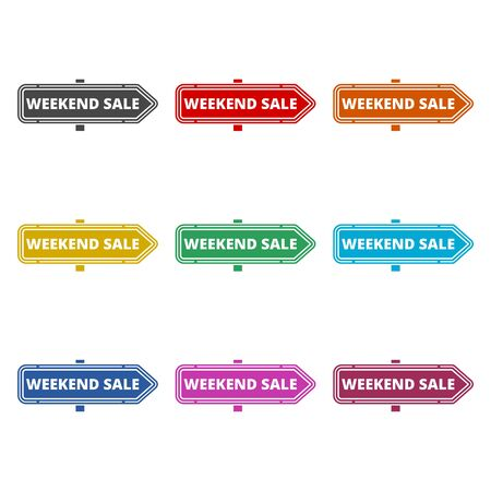 Weekend Sale sign icon, color icons set