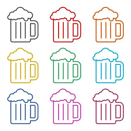 Beer icon, color icons set Иллюстрация