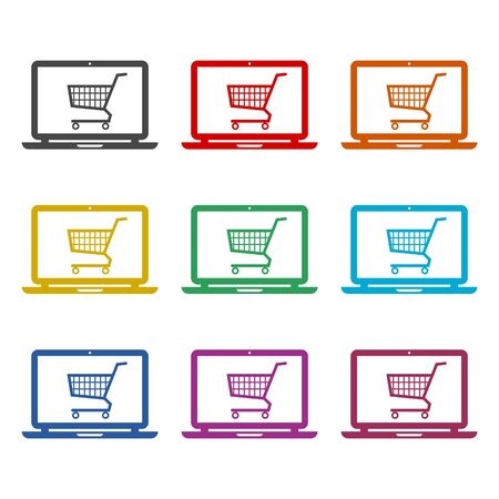 Online shop sign, Online shopping on laptop icon, color icons set