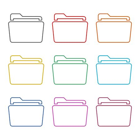File icon, Folder icon, color icons set Stock Illustratie