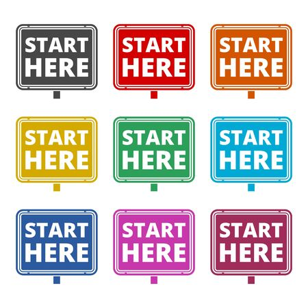 Start here sign, Start here icon, Start here button, color icons set