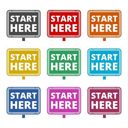 Start here sign, Start here icon, Start here button, color icons set