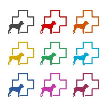 Veterinary icon with medicine symbol, Dog icon, color icons set