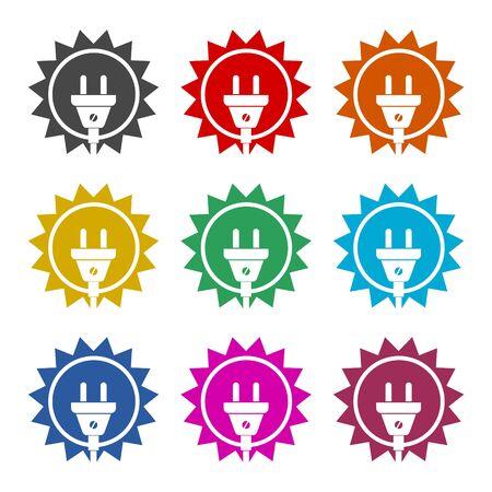 Solar energy design, Power electricity sun icon, color icons set