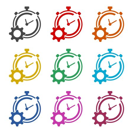 Time management icon for startup business, Time Management icon, color icons set