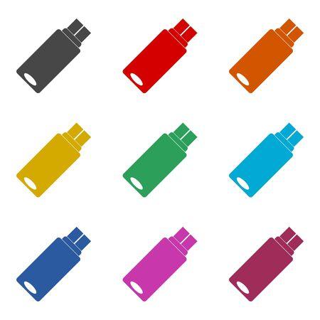 Usb flash memory icon, color icons set