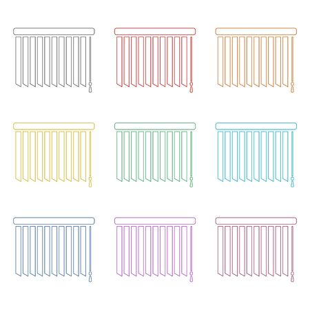 Louvers rolls icon, color icons set Stock Vector - 129902129