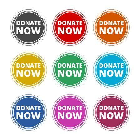 Donate now sign, Donate now icon, color icons set