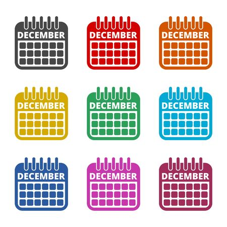 December calendar icon, Calendar sign, December month symbol, color icons set