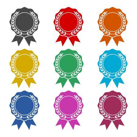 Badge avec icône de rubans, ruban de récompense, jeu d'icônes de couleur Vecteurs