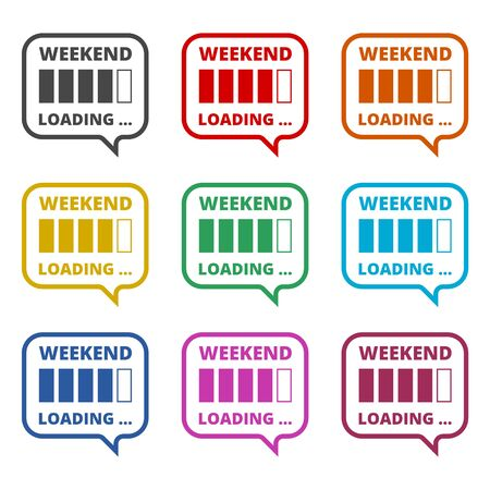 Weekend loading sign icon, color icons set Иллюстрация