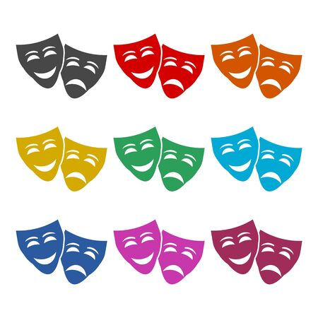 Theater mask line icon, color icons set