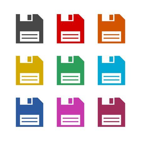 Icône de disquette magnétique, jeu d'icônes de couleur Vecteurs