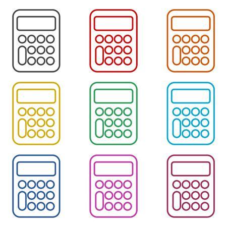 Calculator icon, color icons set