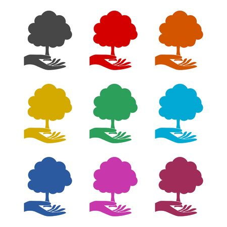 Hand with a tree symbol icon, color icons set