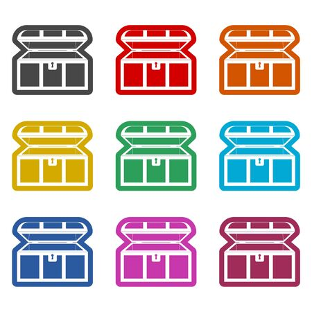 Treasure chest open icon, color icons set Çizim