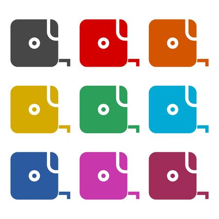 Tape measure icon, color icons set
