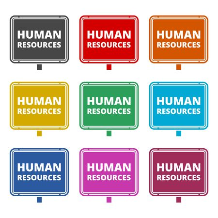 Human resources icon, color icons set