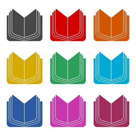 Open book icon, color icons set