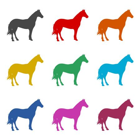 Horse silhouette icon, color icons set