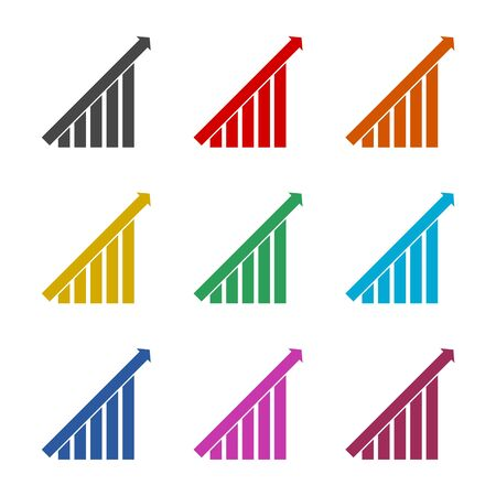 Growth chart icon, color icons set