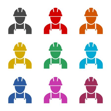 Contractor icon, Workers icon, color icons set